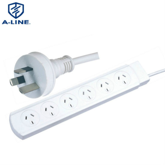 Durable 10A SAA Approved 6-Outlets Power Strip for Home Appliance