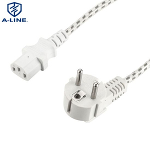 OEM VDE Approval European 3pins Power Plug with Braided Wire